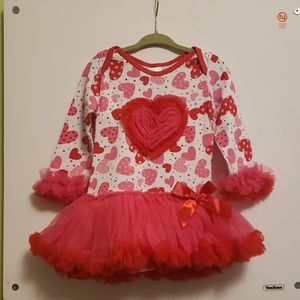 Other - Valentine's Bodysuit with Attached Tutu Skirt 2-3T